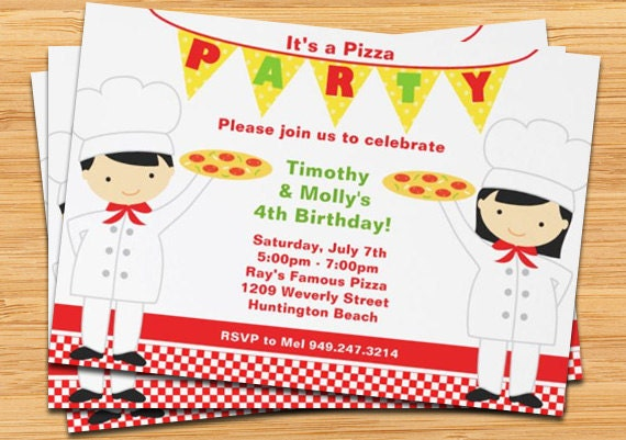 pizza birthday party invitation  printable by eventfulcards, Party invitations