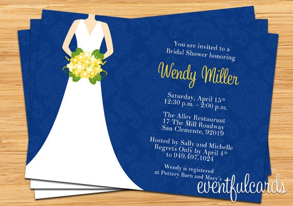 Navy and Yellow Bridal Shower Invitation