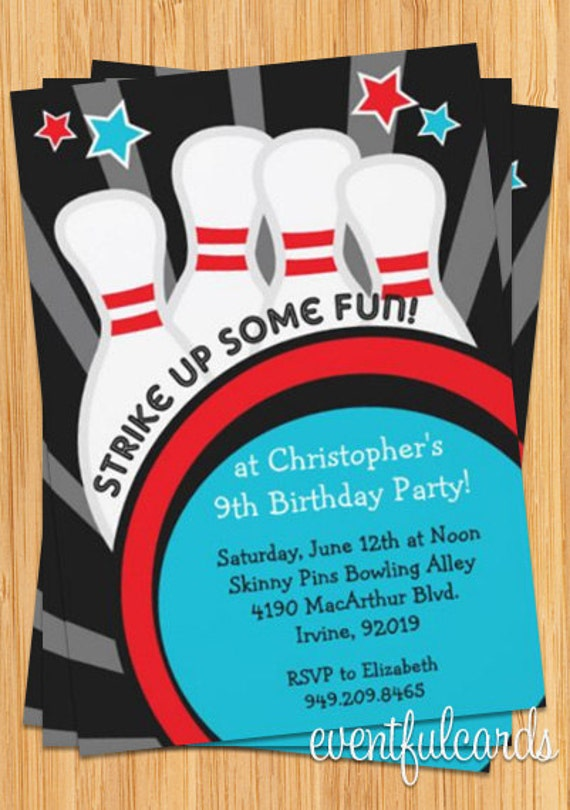 Bowling Party Invitation 5x7