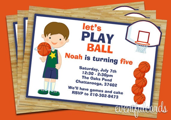 Basketball Birthday Party Invitation for Kids – Basketball Birthday Invitations