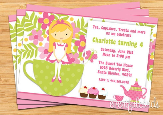 Tea Birthday Party Invitation for Kids by EventfulCards – Kids Birthday Party Invites