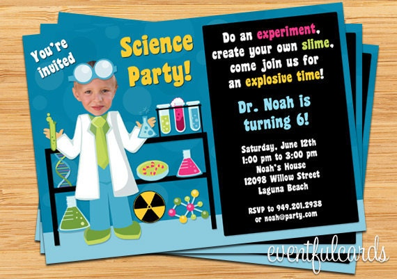 Mad Scientist Party Invitation Halloween Birthday Party Invitation