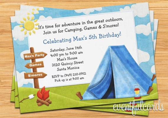 Camping Birthday Party Invitation By Eventfulcards Catch My Party