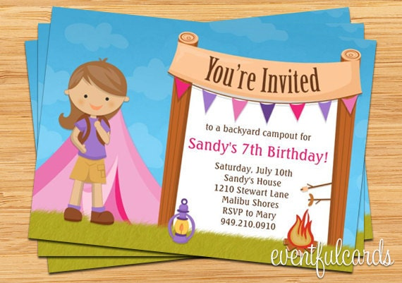 Girls Camping Birthday Party Invitation – Camping Birthday Invitations