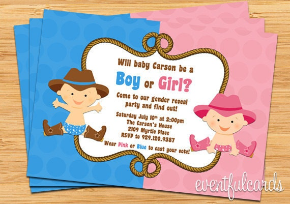 Gender Reveal Party Invitation Pink and Blue Cowboy Cowgirl – Invitations for Gender Reveal Party