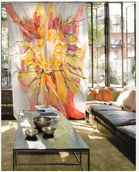Three Hand Painted Silk Curtains - SUNFLOWER silk curtain, extra large silk painting