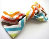 Chevron Print Girls Hair Bow Hair Clip Bow Tie . Colorful . Geometric . Modern . Fresh . Spring . 80s . Stripe . Pattern . Triangle . Bright