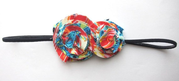Boho Blossom Skinny Stretch Headband - Vibrant Summer Bohemian - Layered Ruffled Fabric Flower Hair Band
