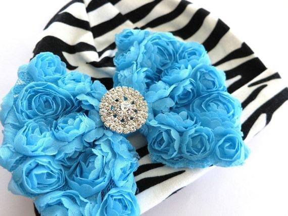 Baby Hat - Zebra Stripe - Aqua Blue Rose Mesh Bow - Rhinestone - Turquoise Rosette - Glamour Girl