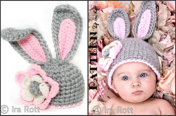 PATTERN - Crochet Bunny Hat With Flower for Little Girl -  PDF Pattern for 5 sizes