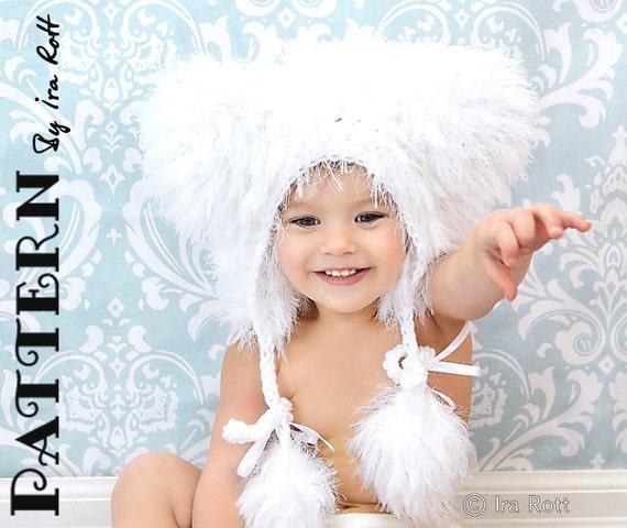 PATTERN Fuzzy Polar Bear Bonnet Hat Crochet PDF Pattern