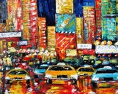 Fine Art Print 16 x 20  from oil painting by Karen Tarlton - Times Square Rush Hour