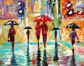 Karen Tarlton Original oil painting City Rain art