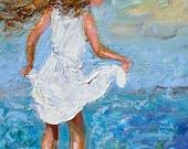 Original oil painting - Child Ocean Play - Impressionism by Karen Tarlton - impasto fine art