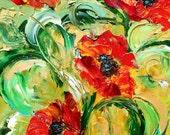 Original Oil Painting - Red Poppy Flowers - impressionism impasto palette knife fine art by Karen Tarlton