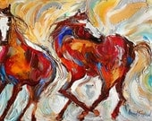 Fine Art Print - Wild Mustang Horses - print made from image of past oil painting by Karen Tarlton - impressionism Equine Horse art