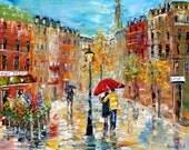 Original oil painting PARIS ROMANCE cityscape palette knife fine art impressionism by Karen Tarlton