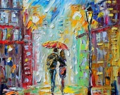 Original oil Night Romance palette knife painting ABSTRACT modern texture fine art impressionism by Karen Tarlton