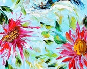 Original oil painting Hummingbird Flowers palette knife modern impressionism fine art impasto by Karen Tarlton