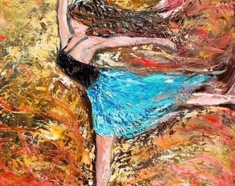 Fine Art Print 11 x 14 made from image of past oil painting by Karen Tarlton - Dance Ballerina figurative fine art impressionism