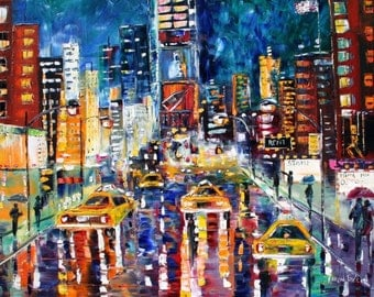 Original Oil Painting Custom Commission Times Square palette knife impasto fine art on canvas by Karen Tarlton