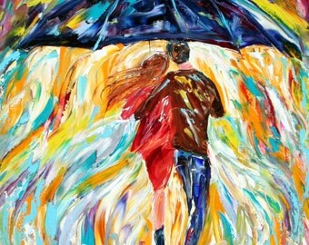 Custom Original Oil Painting Commission Romance Couple palette knife fine art modern impressionism on canvas by Karen Tarlton