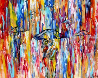 Fine art Print - Abstract City Rain - print from oil painting by Karen Tarlton - impressionistic modern art