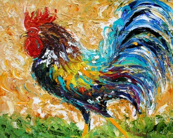 Fine art print made from image of oil painting by Karen Tarlton - ROOSTER modern impressionism art