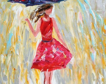 Fine art Print - Rain Dance in Red - made from image of oil painting by Karen Tarlton impressionistic palette knife fine art