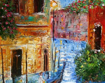 """Venice Magic 27"""" x 36"""" Gallery Quality Giclee Print on Museum Archival canvas prints from Original painting by Karen Tarlton fine art"""