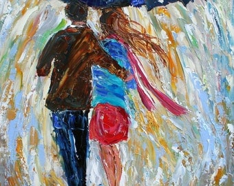 "Fine art print 11"" x 14"" Love in the Rain - from oil painting by Karen Tarlton - impressionistic palette knife modern art"