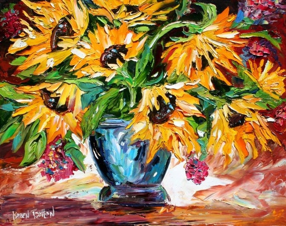 Karen Tarlton LIMITED Edition Art Giclee Print from oil painting Sunflowers modern impressionism