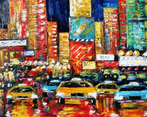Print 16 x 20 made from image of oil painting by Karen Tarlton - Times Square Rush Hour
