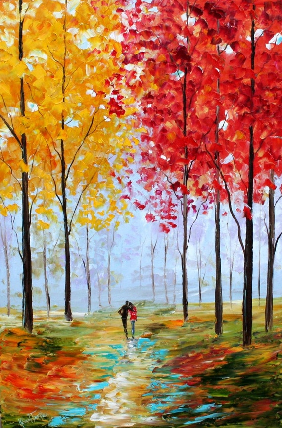 Karen tarlton original oil painting autumn romance landscape for Fall paintings easy