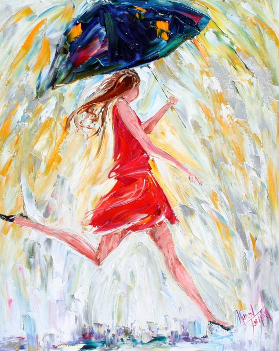 Karen Tarlton Original oil painting Rain Dance - impressionistic whimsical palette knife art