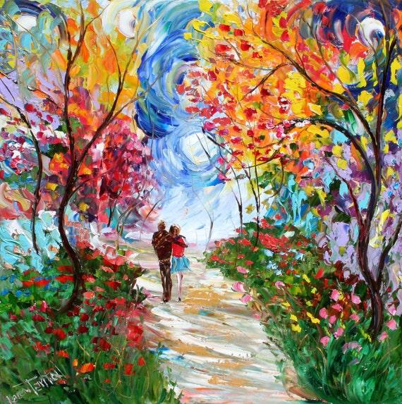 Original Oil Painting Love Landscape Palette Knife Fine Art