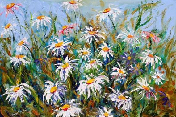 Original oil painting Flowers - Dancing Daisies by Karen Tarlton- impasto impressionistic palette knife fine art