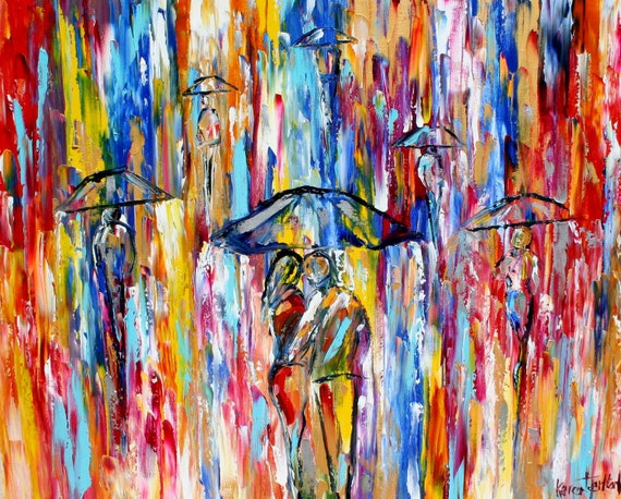 Fine art Print - Abstract City Rain - from oil painting by Karen Tarlton - impressionistic modern art