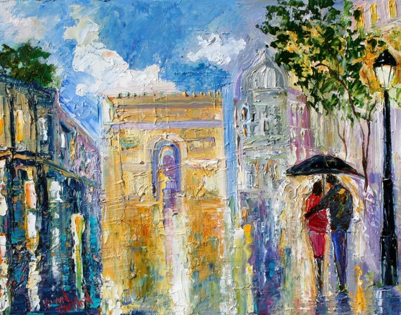 Fine Art Print - Paris Rainy Romance - from oil painting by Karen Tarlton - prints from palette knife art