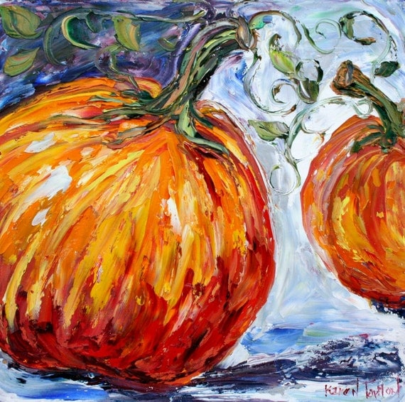 Original Oil Painting Fall October Pumpkins Impressionistic