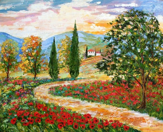 Landscape painting original oil Tuscany Poppies palette knife on canvas fine art impressionism by Karen Tarlton