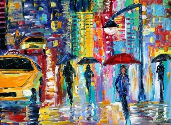 Original oil painting New York City Rain impressionism palette knife fine art by Karen Tarlton