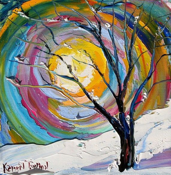 Original Oil Painting WINTER TREE Landscape Palette Knife Fine