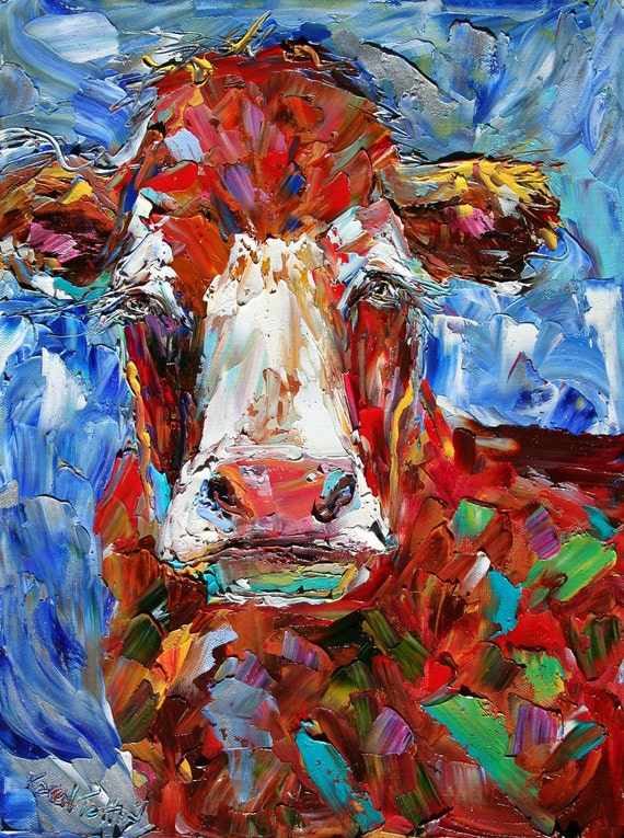 Original oil painting ABSTRACT MODERN COW Bovine fine art palette knife impressionism by Karen Tarlton
