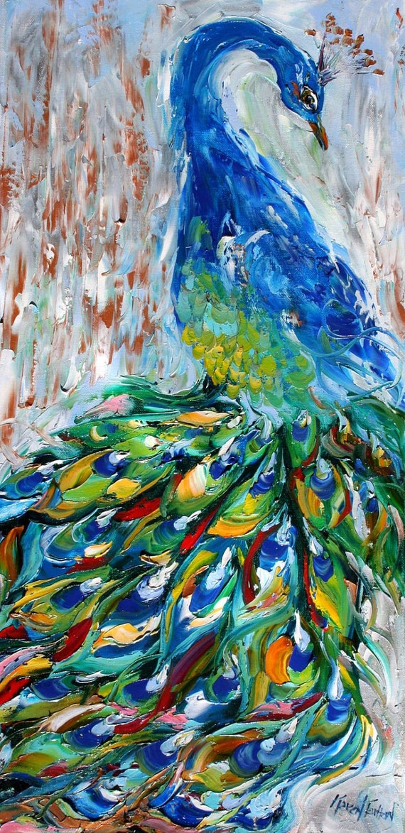 Original oil painting PEACOCK bird decorative palette knife fine art impressionism by Karen Tarlton