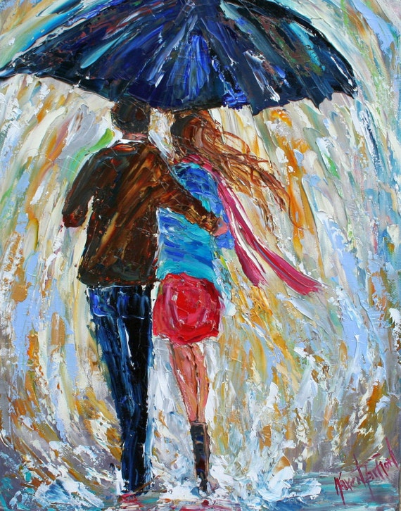 Fine art print 11 x 14 Love in the Rain from oil