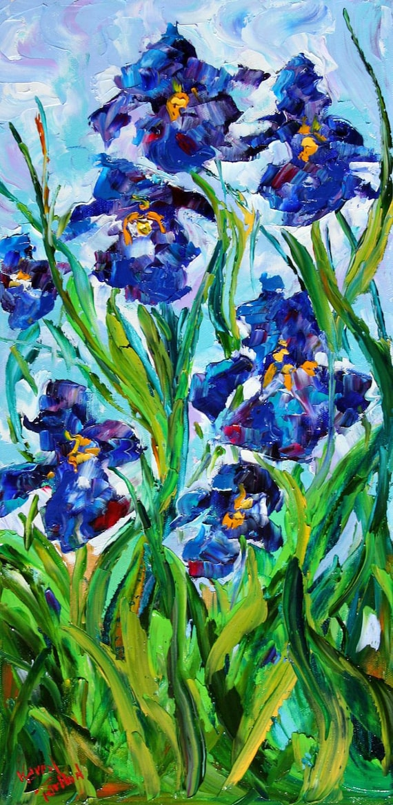 Original PALETTE KNIFE PAINTING Iris flowers modern impressionism fine art abstract by Karen Tarlton