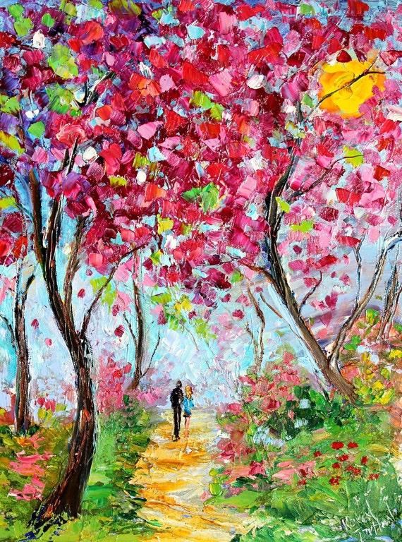 Landscape painting original oil SPRING LOVE palette knife on canvas fine art impressionism by Karen Tarlton