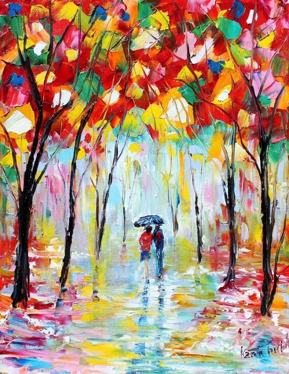 SALE Rain Romance oil on canvas Landscape palette knife painting ABSTRACT modern texture fine art impressionism by Karen Tarlton