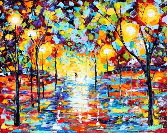 Original Textured Palette Knife Landscape Painting Oil on Canvas Contemporary Modern Art Rainy Night modern impressionism by Karen Tarlton